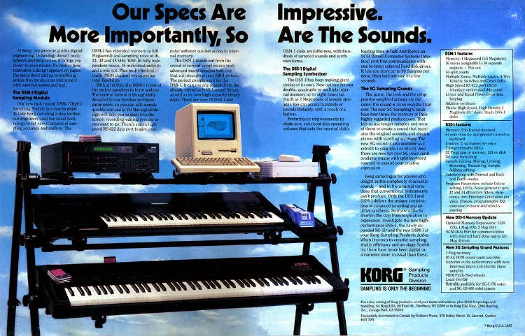 Publi de Korg DSS-1 (1987), sampling primigenio entre síntesis digital y el avance del software