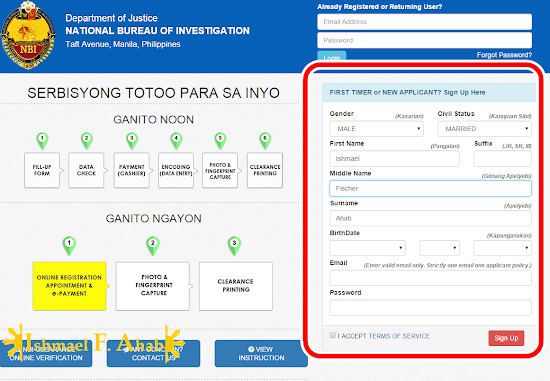 Online NBI Clearance - Step 2