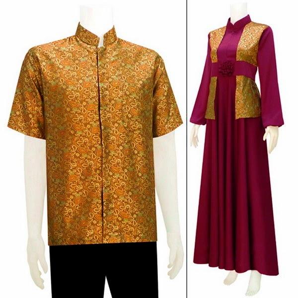 Baju Batik Pasangan Muslim Semi Sutra