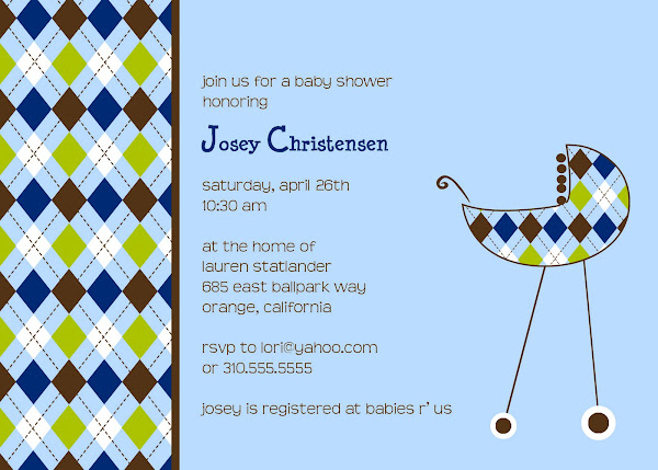 The Argyle Carriage Baby Shower Invitation