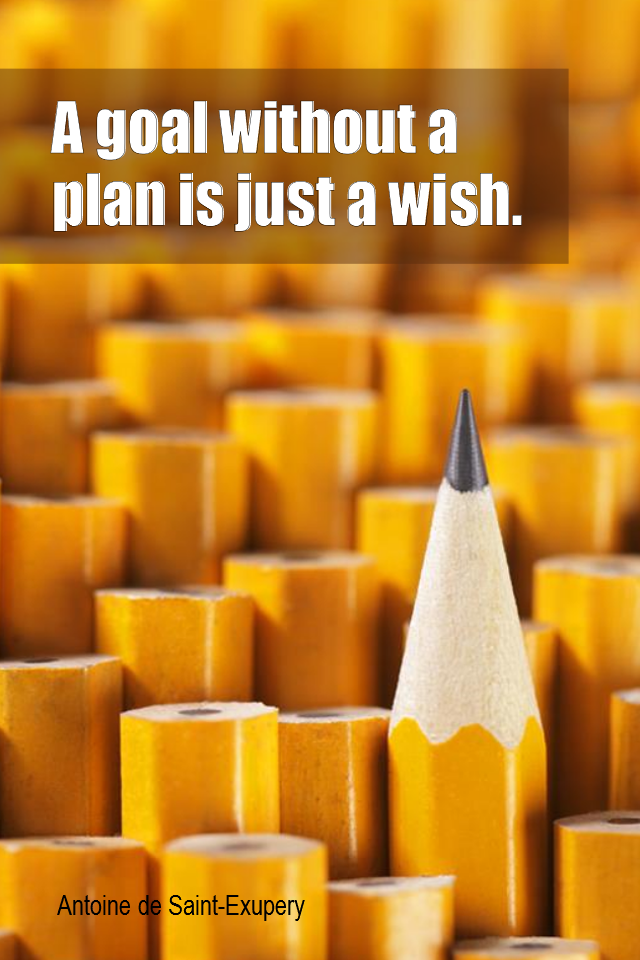 visual quote - image quotation for PLANNING - A goal without a plan is just a wish. - Antoine de Saint-Exupery