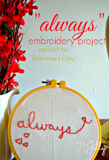 """Always"" embroidery project. Easy, and perfect for Valentine's! #embroidery #valentines #decor #harrypotter #ouat"