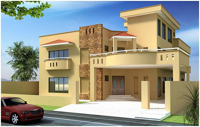 3D Front Elevation   Pakistan 1 kanal  10 Marla Plan  3d Front