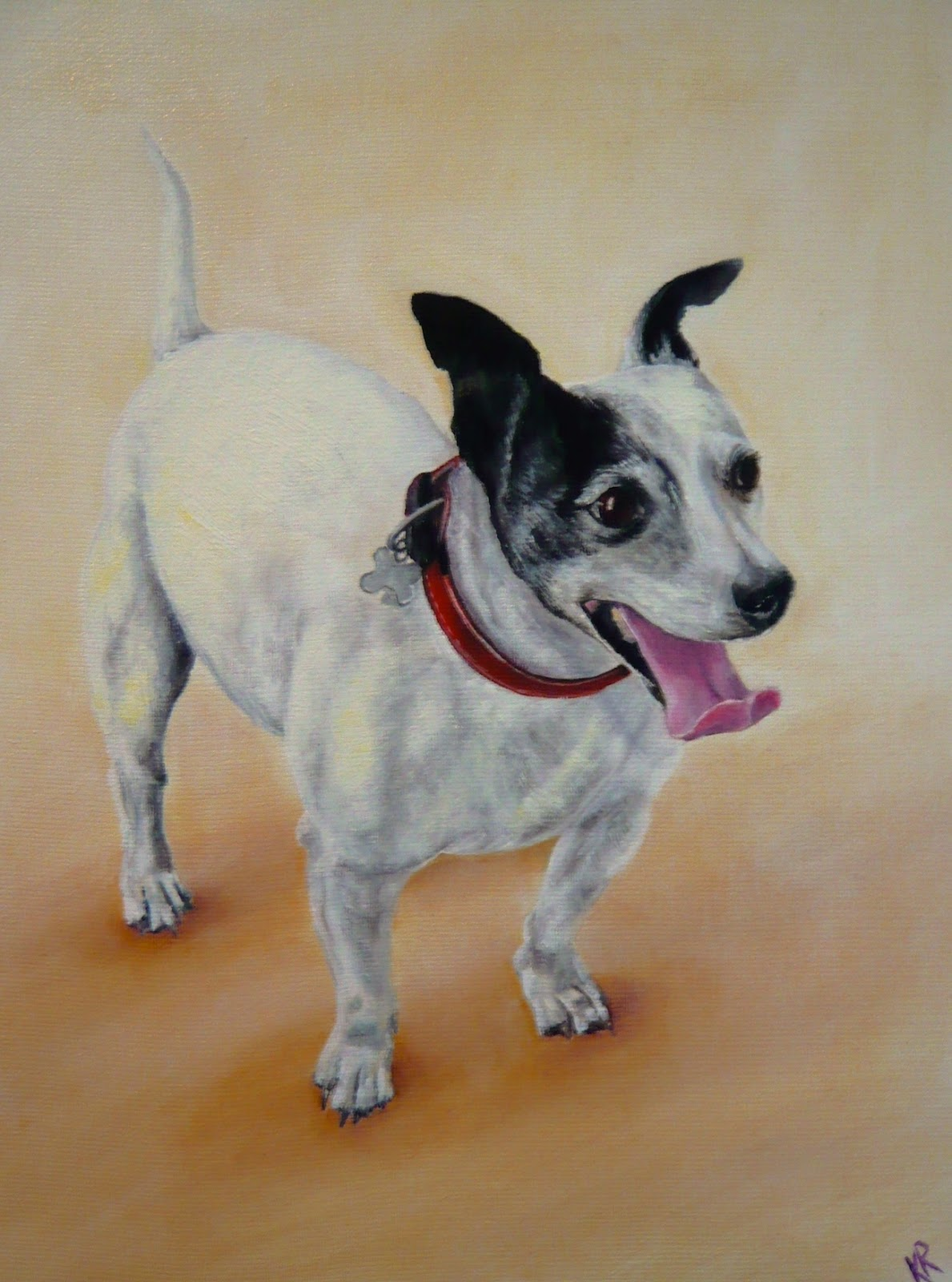 oil painting of a jack russell terrier, a pet portrait by Karen