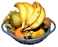 A blue two-handled basket with a variety of fruits like bananas, oranges, pears, grapes, etc.