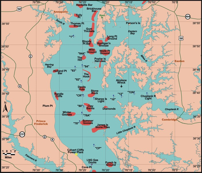 Looking toward portugal october fishing for Chesapeake bay fishing map