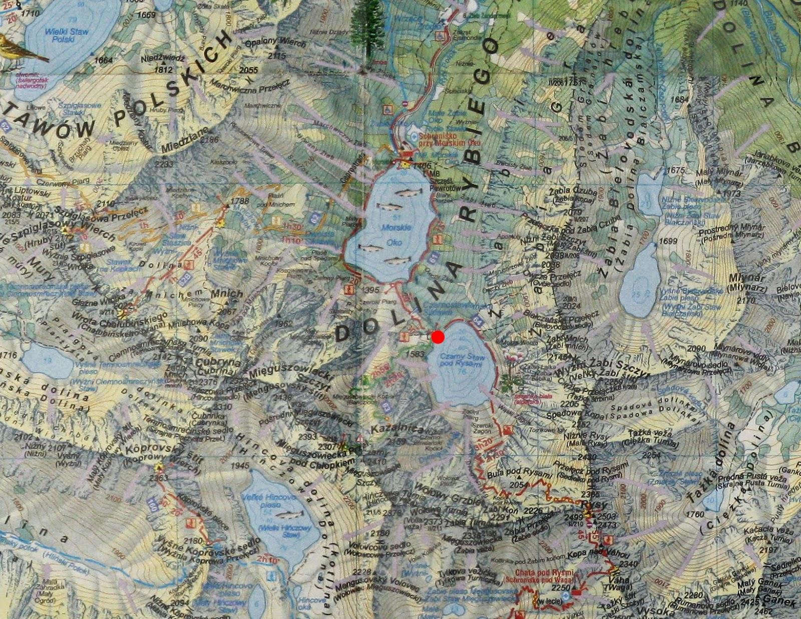 Czarny Staw pod Rysami na mapie