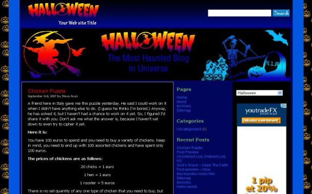 Free Wordpress Grunge Black Blue Halloween Theme