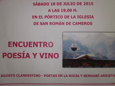 18 de julio de 2015: Agosto Clandestino con Poesía y vino: Sonia San Román y Bernabé Arrieta