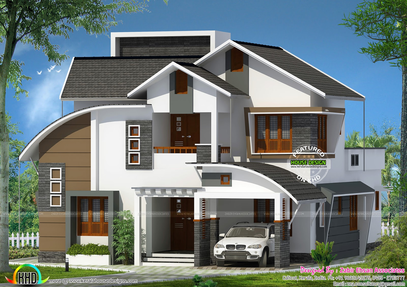 all mix roof house plan by zabir ehsan associates kerala