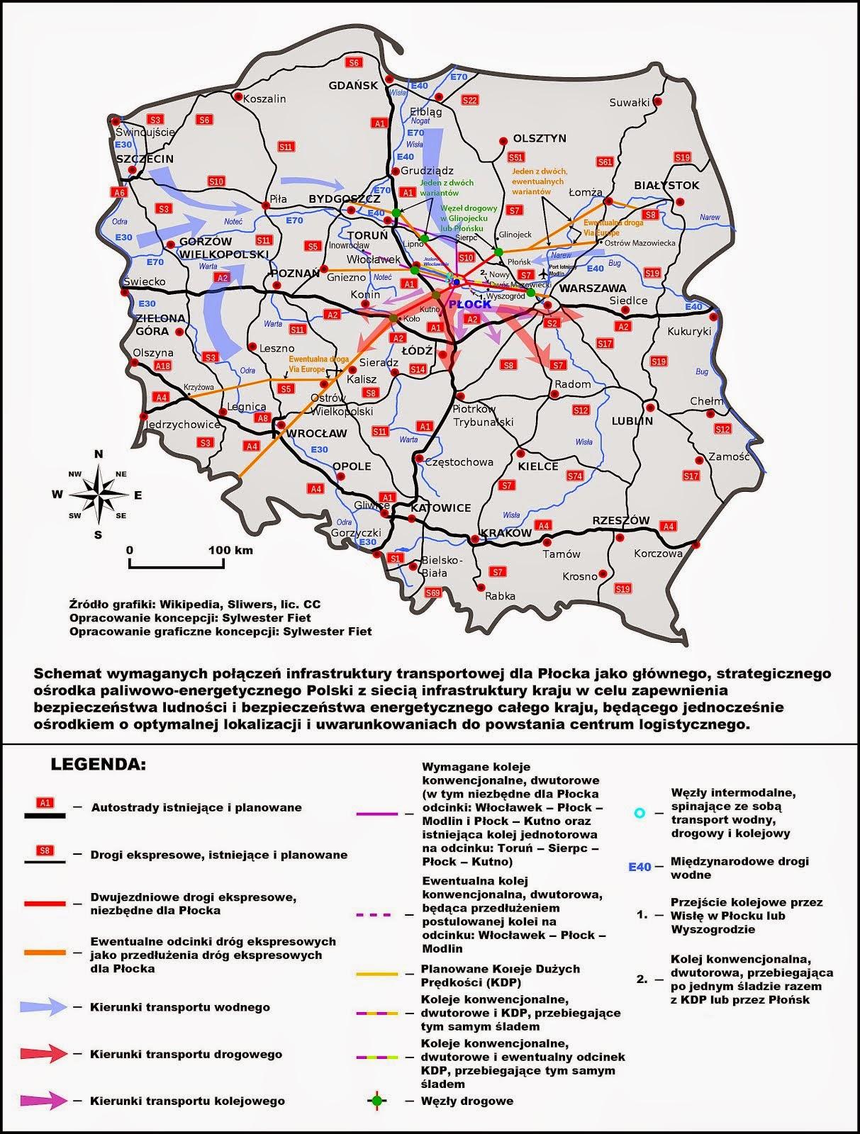 Mapa intermodalnego centrum logistycznego w rejonie Płocka
