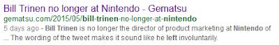 Gematsu Bill Trinen no longer at Nintendo shoddy reporting bad journalism