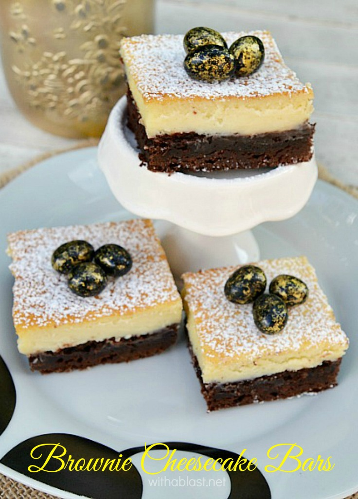 Brownie Cheesecake Bars ~ Divine ! The chewy Brownie and the smooth, creamy Cheesecake layer makes the best combination ever and is perfect for Easter