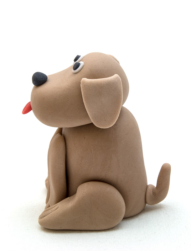 Dog fondant figurine side