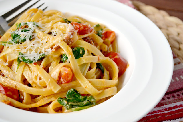 creamy tomato and spinach pasta recipe