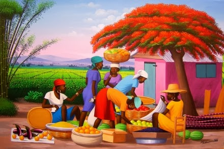 Haitianarts painting flanboyant tree fire