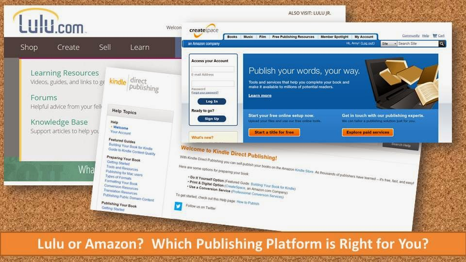 The homepages for Amazon KDP, Lulu, and CreateSpace