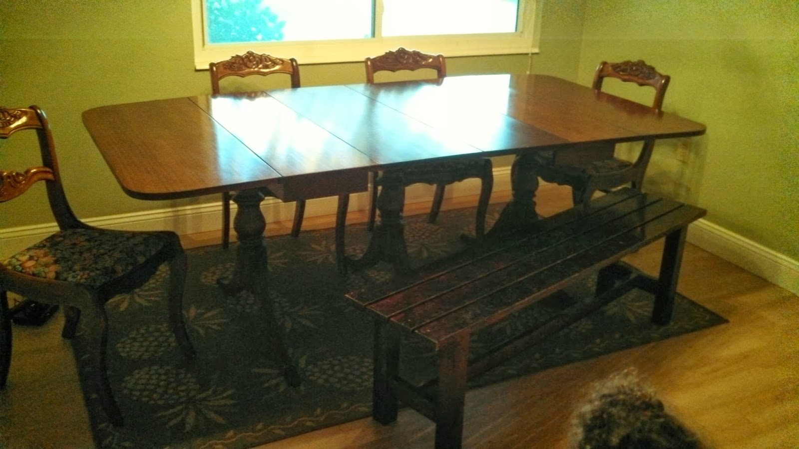 Mumbling Mommy: Frugal Friday: Updating Antique Dining Room Set. Full resolution  img, nominally Width 1600 Height 900 pixels, img with #AA9621.