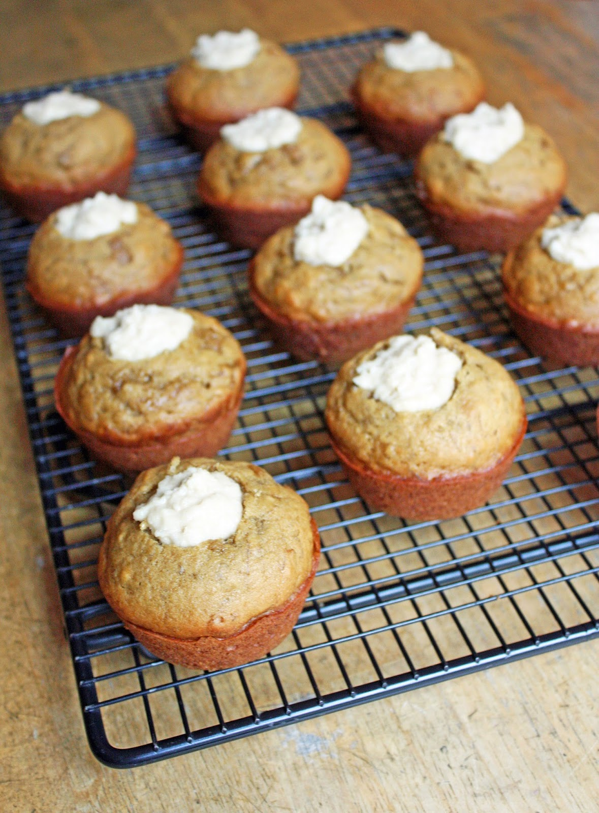 caramelized banana bread muffins with coconut cashew cream filling