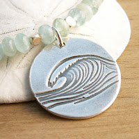 ocean wave necklace handmade pendant with aquamarine gemstone beads on Etsy
