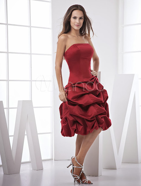 China Wholesale Clothes - Burgundy Strapless Ball Gown Satin Prom Homecoming Dress