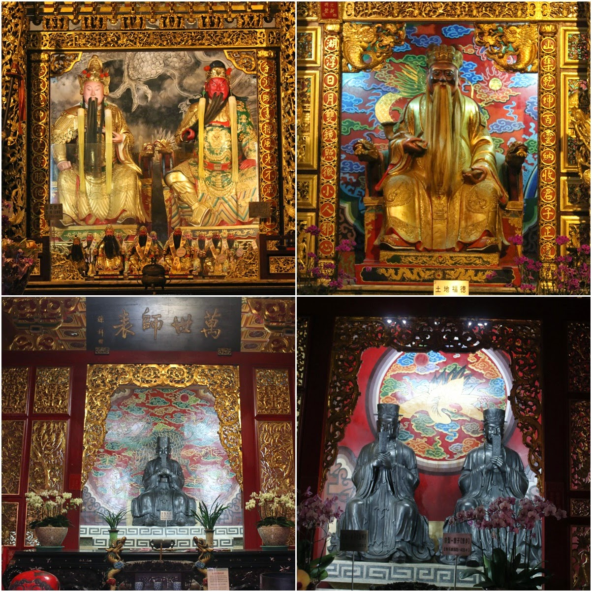 Chinese Gods statues can be seen at Wenwu Temple in Puli County of Taiwan