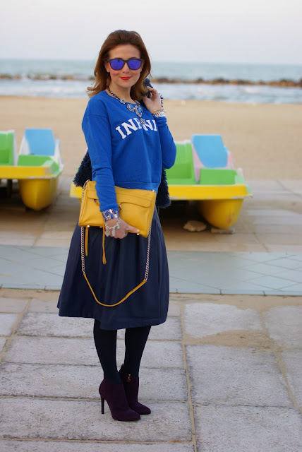 shades of blue outfit, Zara statement necklace, Fabi shoes, Infinity sweatshirt, Fashion and Cookies, fashion blogger