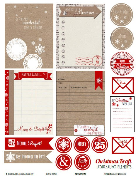 kraft and red christmas planner printables