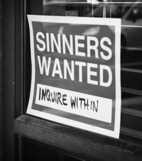 Funny Sinners Wanted Sign Picture