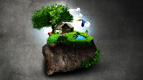 Art Photo Manipulation Photoshop Home In Tiny World