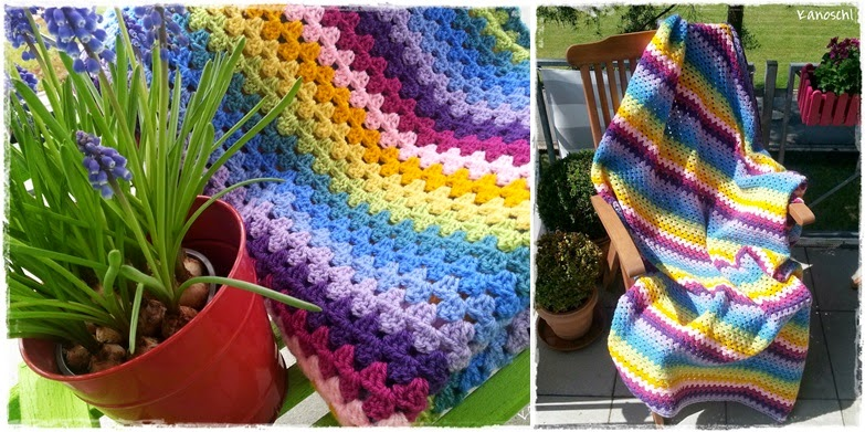 häkeln, Regenbogen, Decke, Regenbogendecke