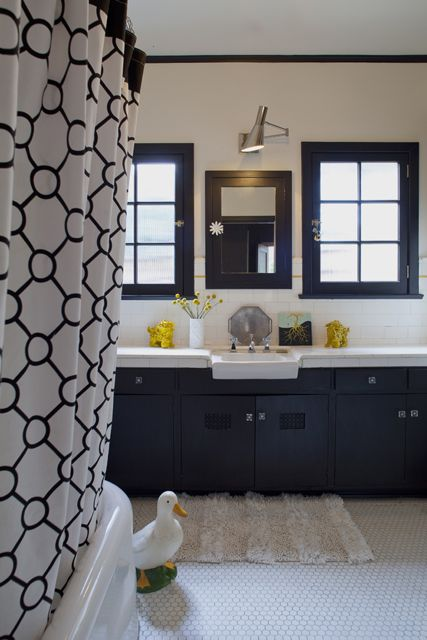 Image detail for retro black white gray and yellow for Yellow and black bathroom ideas