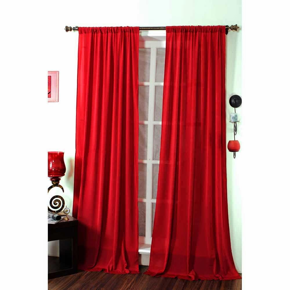 Sheer red curtains