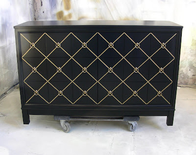 Sydney Barton Painted Furniture Black And Gold Chest