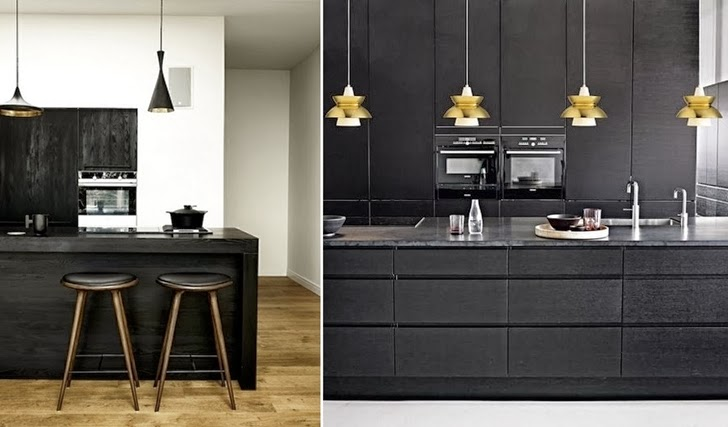 Two minimalist black kitchens