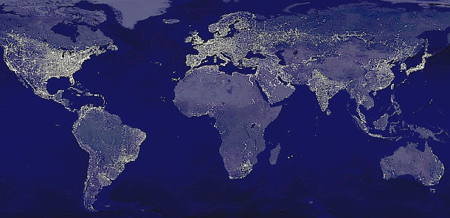 Composite photo by NASA of man-made electric lighting at night, across the world