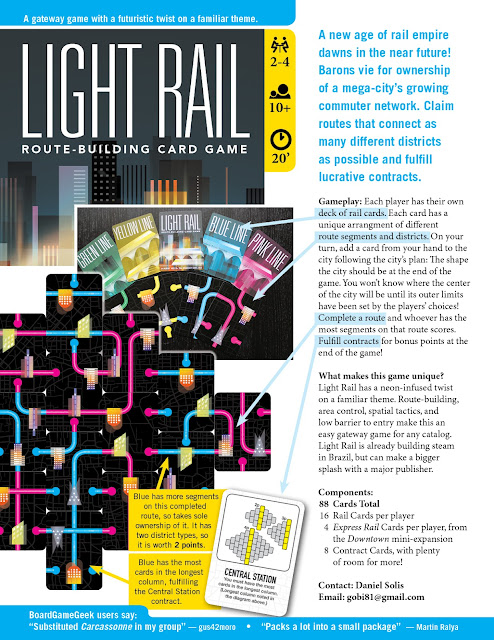 Light Rail - Board Game Sale Sheet - Sell Sheet