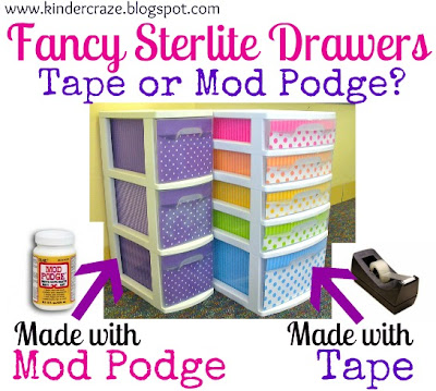 a comparison of tape and Mod Podge for decorating sterlite drawers