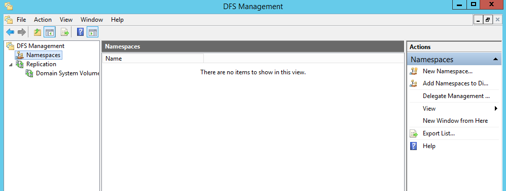 How to configure a DFS namespace