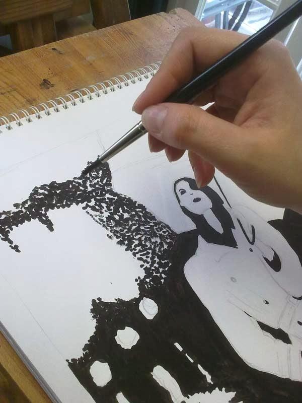 apunte de fotografia con tinta china