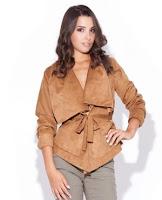 Jacheta moderna cu cordon, de culoare camel ( )