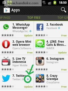 Lingkaran warna Hijau menandakan Top Developer - Pada Smartphone