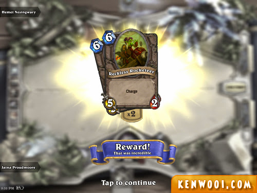 hearthstone reward