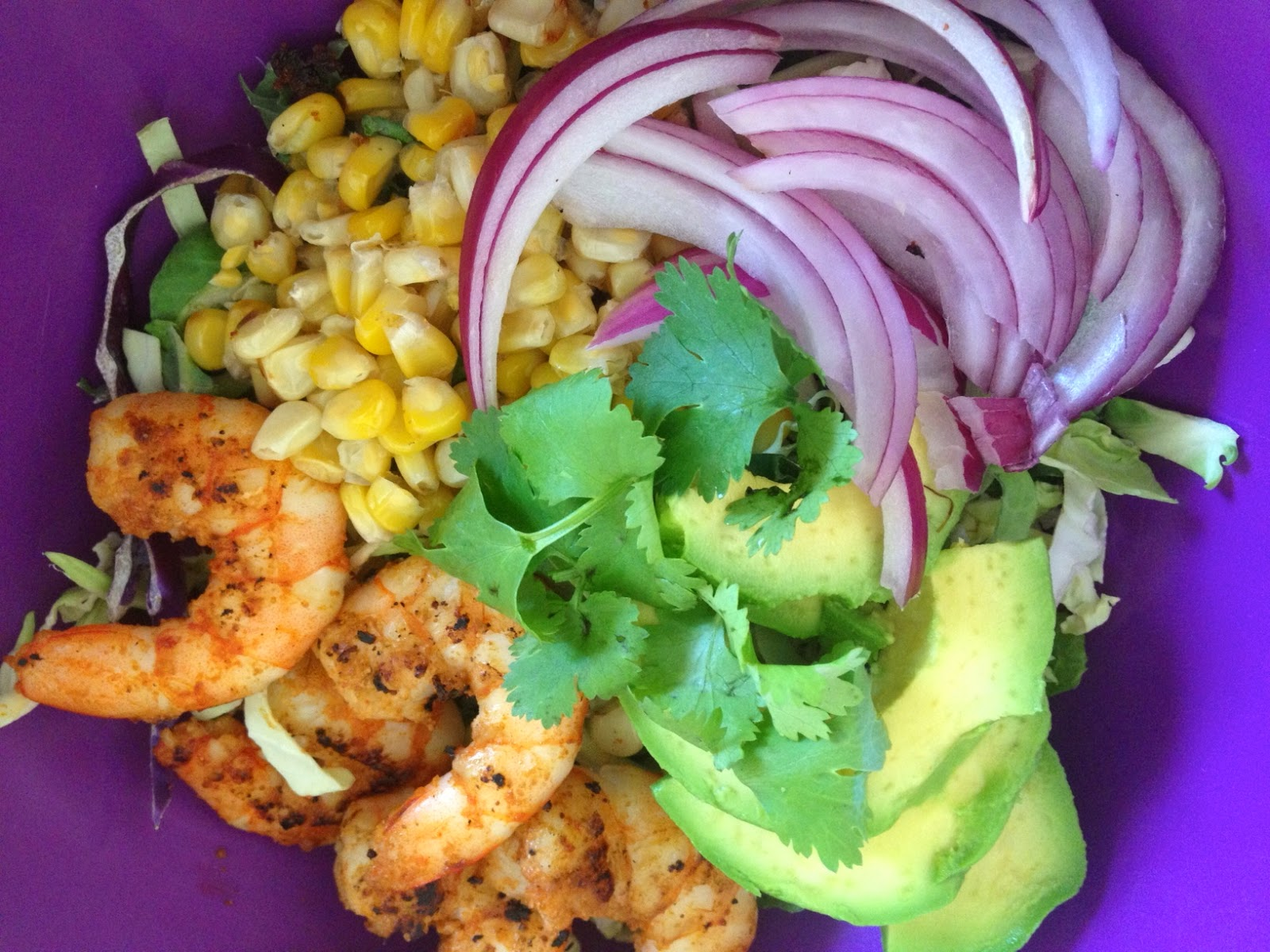 Avis: Shrimp, corn salad with lime cilantro dressing