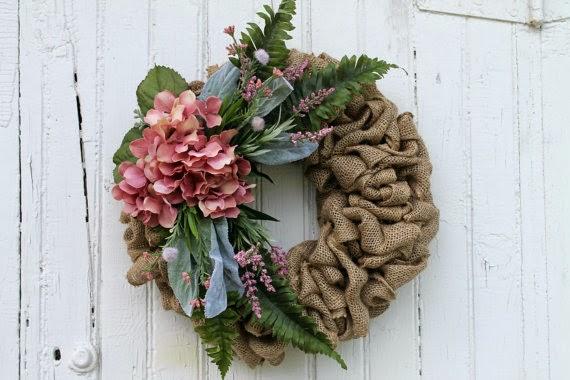 Pink Hydrangea Burlap Wreath
