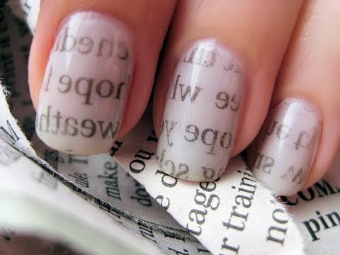 news paper nail art hope you like it dnt forget to send me your nail