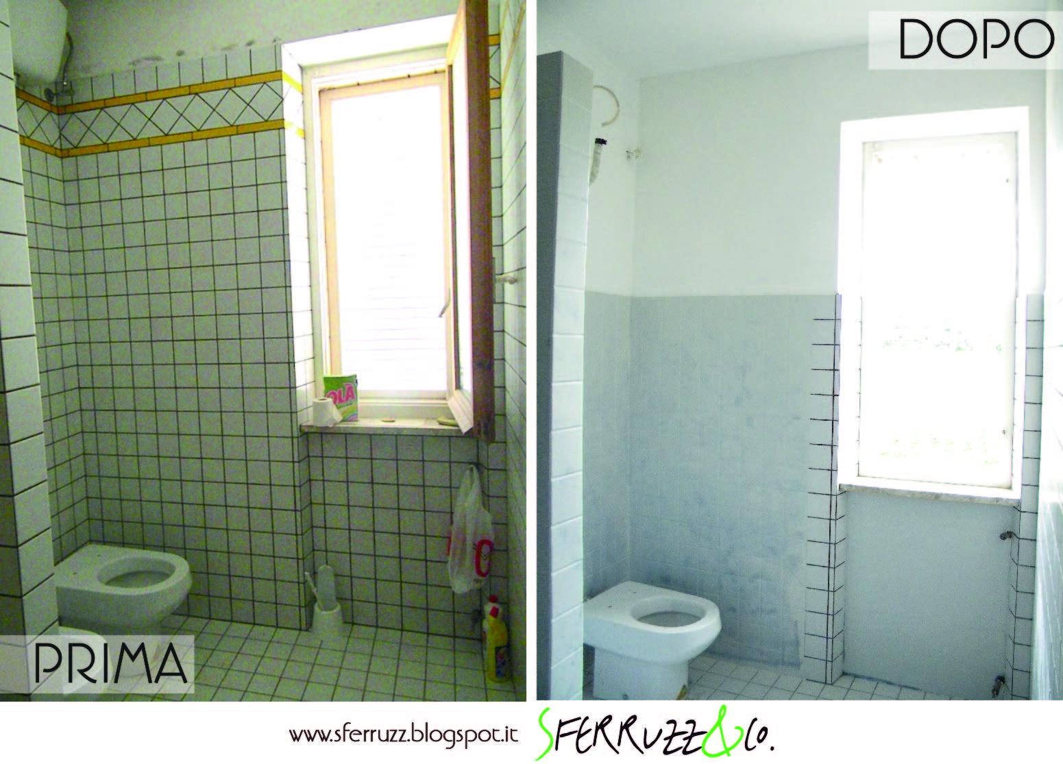 Sferruzz co t g house il bagno blu makeover parte 1 - Pitturare piastrelle bagno ...