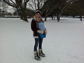 babywearing, snow baby wearing, sling, mother and baby