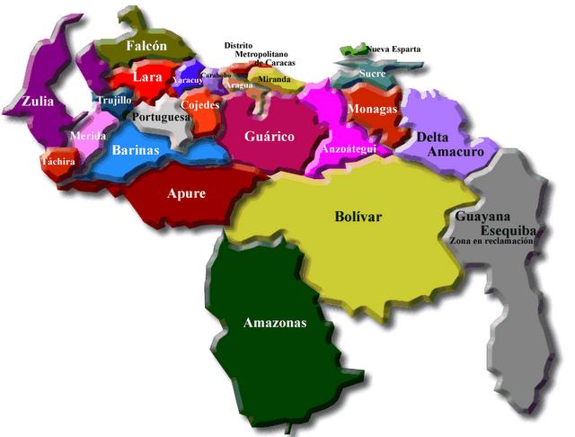 Mapa de venezuela con sus nombre - Imagui