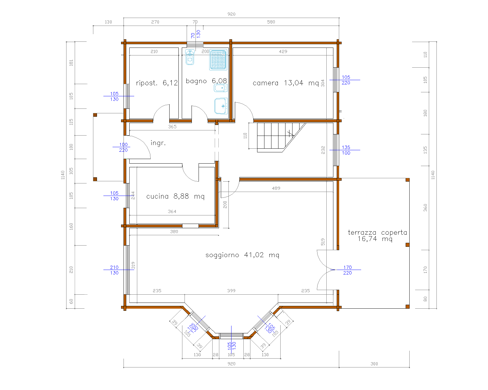 Progetti di case in legno casa 214 mq terrazza coperta for Progetti di piani casa fienile